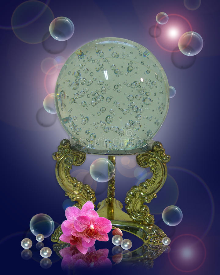 Crystal ball orchids pearls royalty free stock image