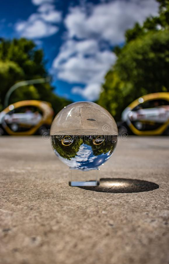 crystal ball photography in Lisbon portugal with a beautiful blue sky  date 20 may 2019 stock photo