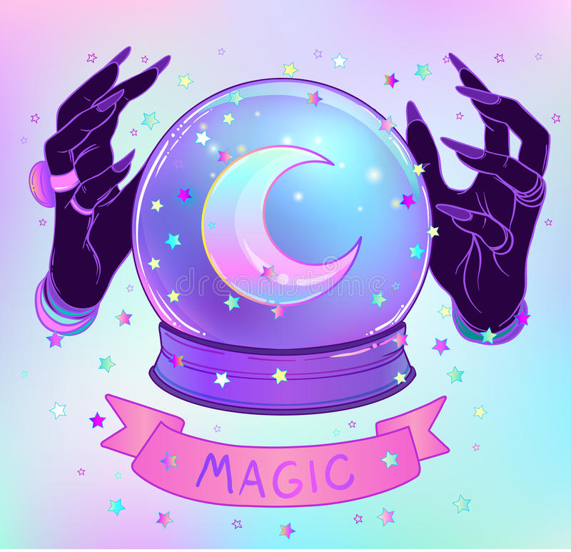 Crystal Ball with purple female alien hands over gradient mesh b royalty free illustration