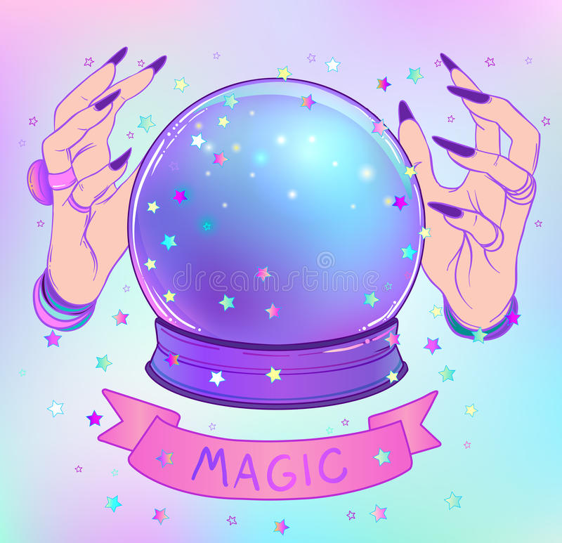 Crystal Ball with purple female alien hands over gradient mesh b stock illustration