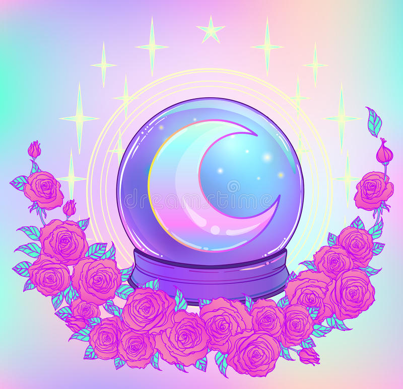 Crystal Ball with with rainbow moon and colorful stars vector illustration
