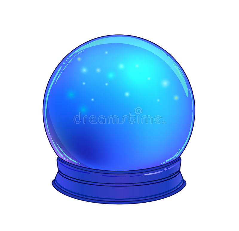 Crystal Ball with with rainbow moon and colorful stars stock illustration