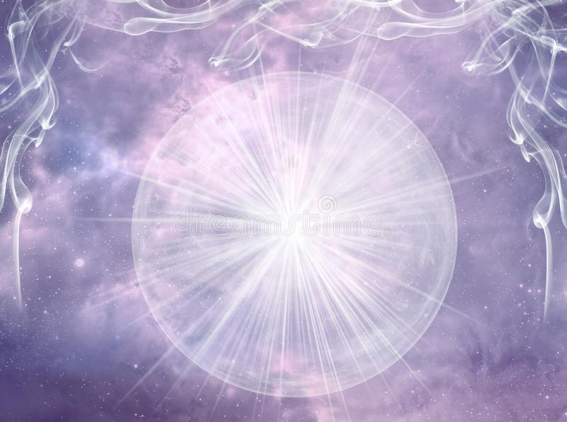 Crystal ball with rays of light over mystical sky like magic esoteric spiritual background. In pink purple tonality, concept of relion, faith, belief, occult stock illustration