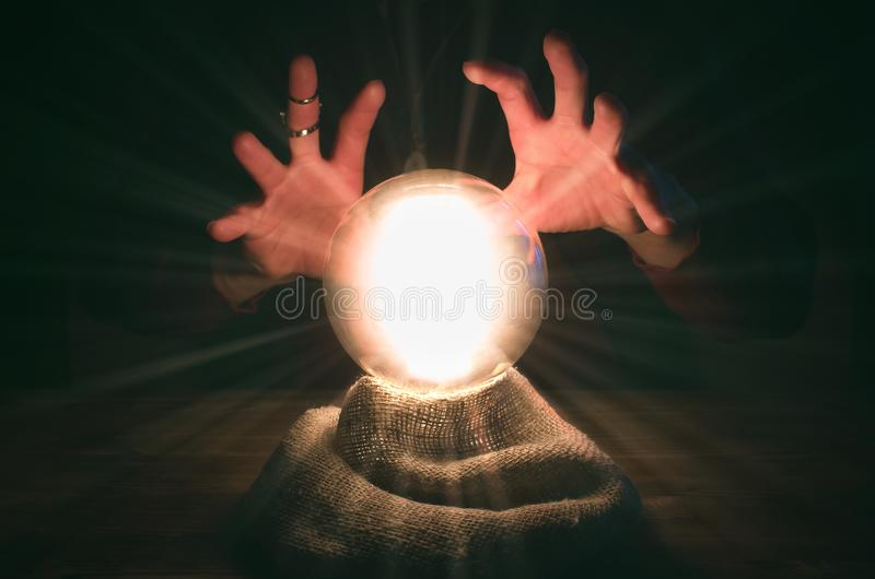 Crystal ball. The seance. Fortune teller table. Future reading. royalty free stock photography