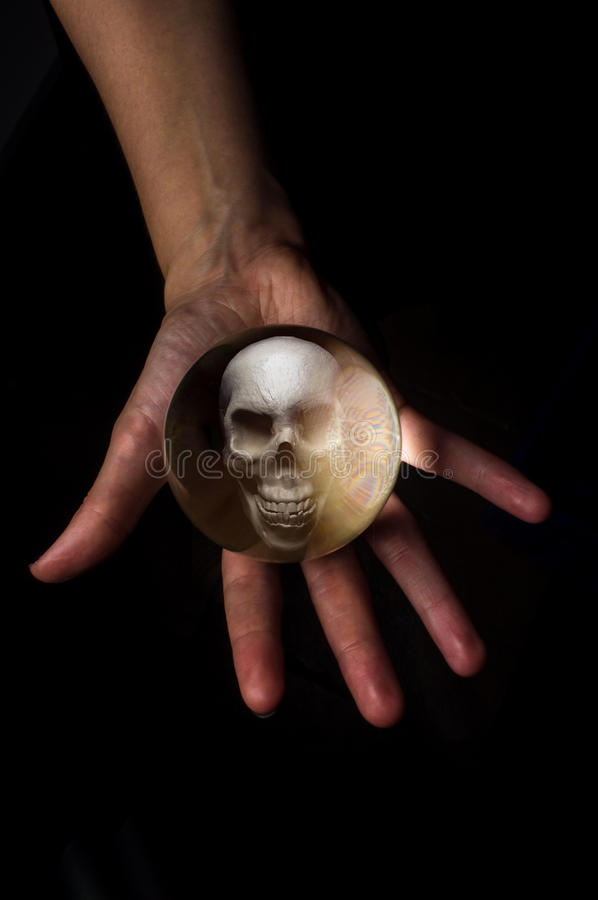 Crystal Ball Skull fotografia de stock