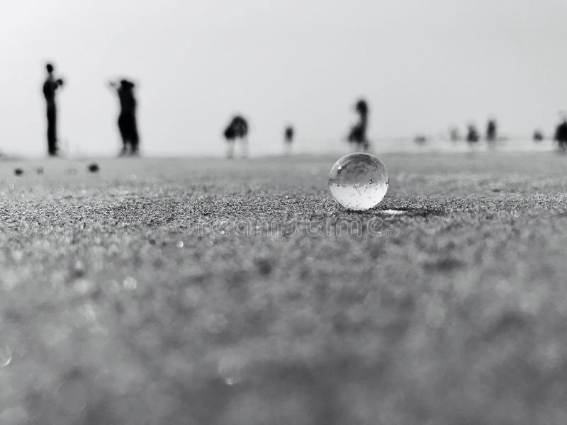 Crystal Ball on. Took this crystal jelly ball to the beach just for this click stock photo