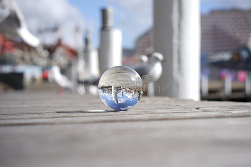 Crystal ball view of Darling Harbour, Sydney. Crystall Ball offering an alternative view point stock image