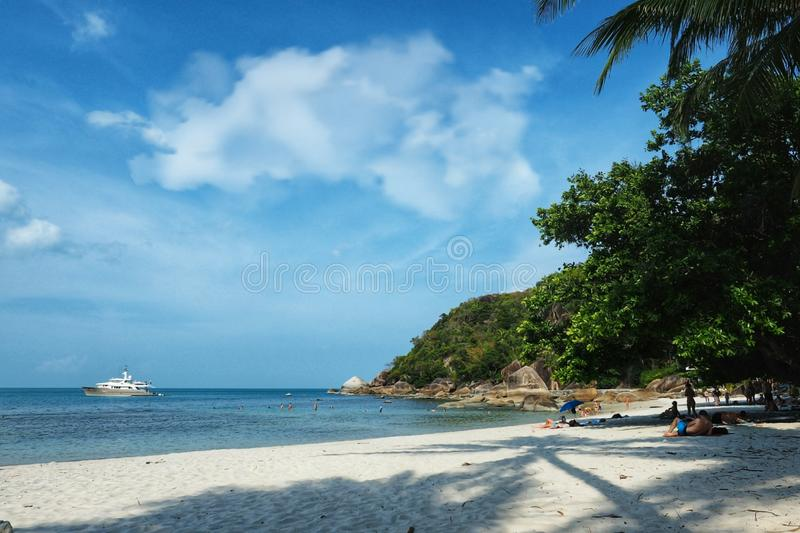 Crystal bay beach samui island ,Thailand. Crystal bay  samui beach island thailand sea sand sky sunbath relax holiday travel asia tropical clouds royalty free stock images
