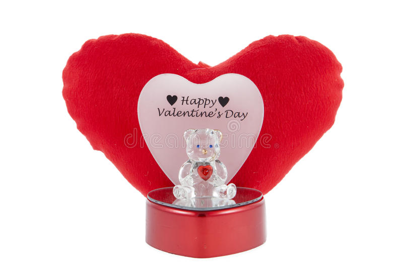 Crystal Bear. A Valentine's Day crystal bear and heart against a white background royalty free stock photography
