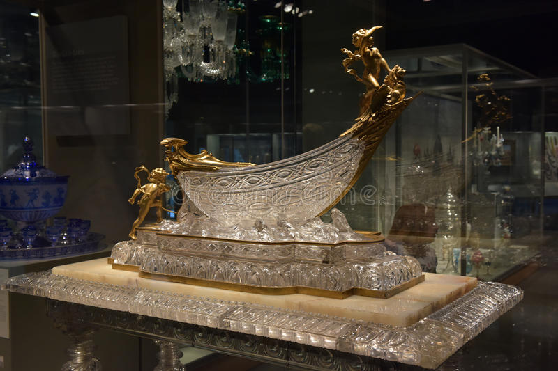 Crystal boat. In the Corning Museum of Glass, USA royalty free stock image