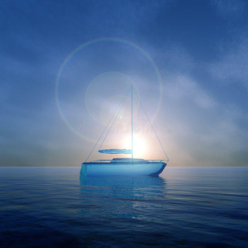 Crystal Boat Sunrise royalty illustrazione gratis