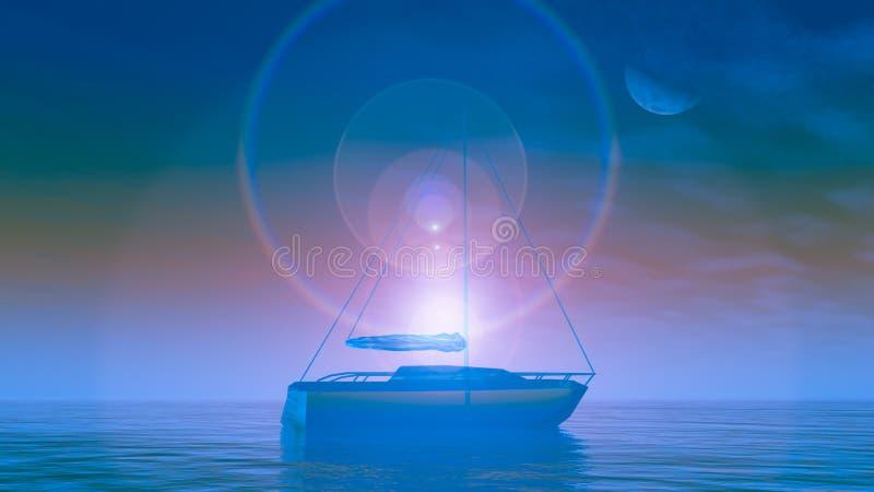 Crystal Boat Sunrise illustration de vecteur