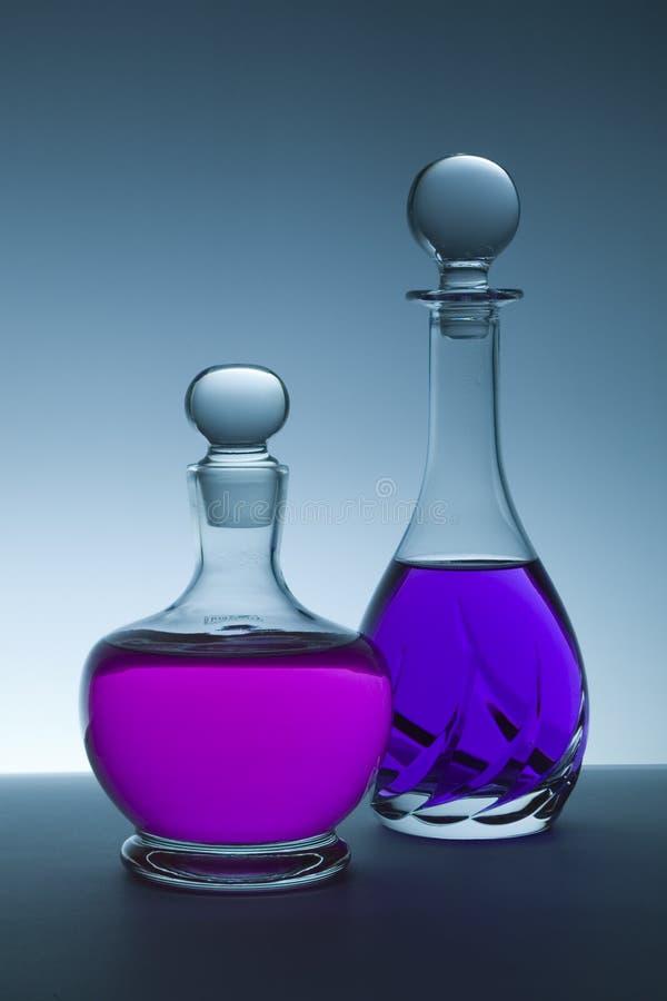 Crystal bottles royalty free stock photo