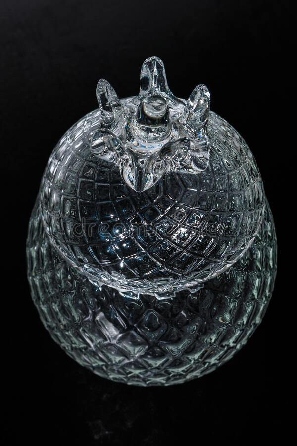 Crystal Sugar bowl isolated on a black background royalty free stock photography