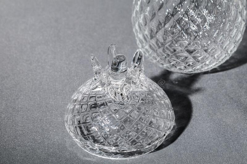 Crystal Sugar bowl isolated on a gray background royalty free stock images