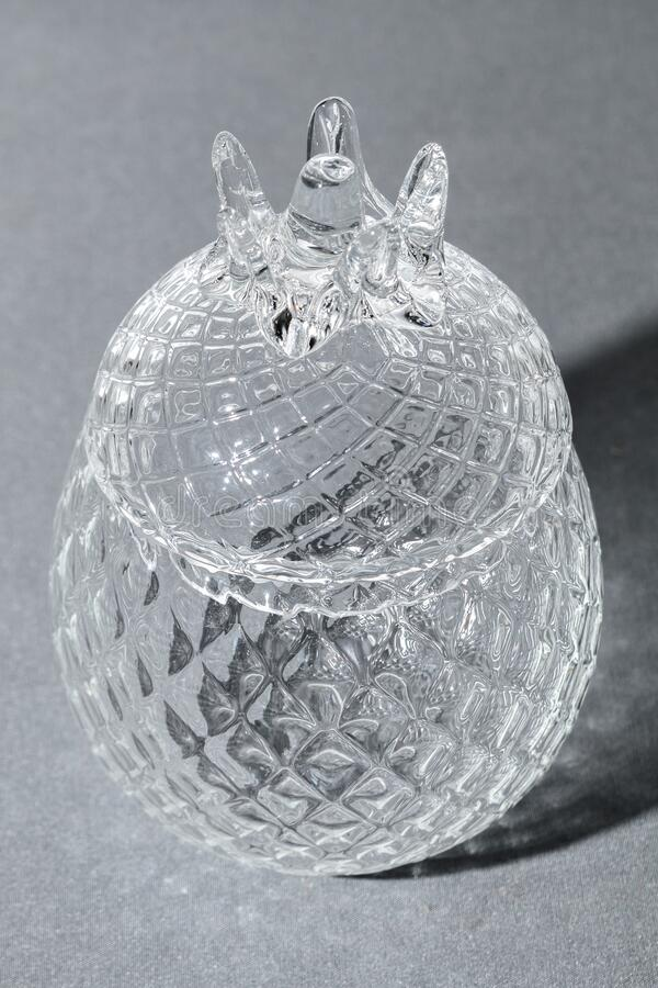 Crystal Sugar bowl isolated on a gray background royalty free stock image