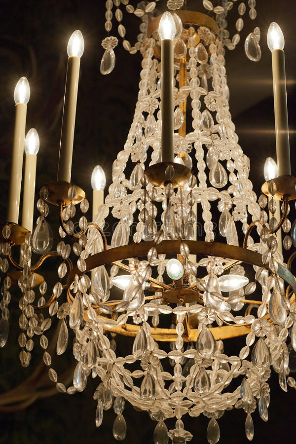 The crystal chandelier stock images