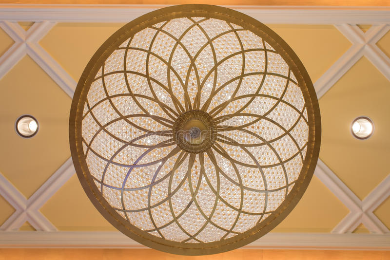 Crystal chandelier ceiling lamps - circle stock image