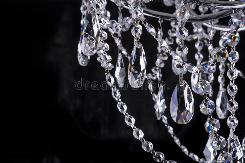 Crystal chandelier close-up on black royalty free stock images