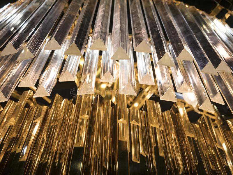 Crystal Chandelier. Close up on the crystal of a contempo stock image