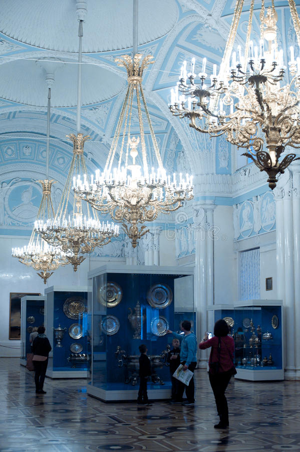 Crystal chandelier in Hermitage royalty free stock image