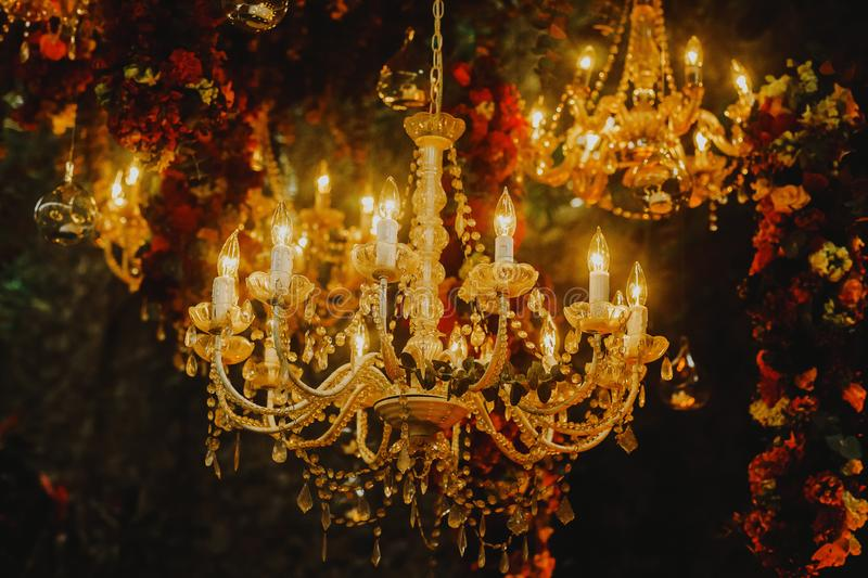 Crystal chandelier lamp, Decorative elegant vintage and Contemporary interior design stock photography