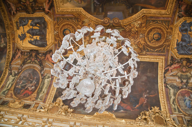 Crystal chandelier in Versailles stock photos