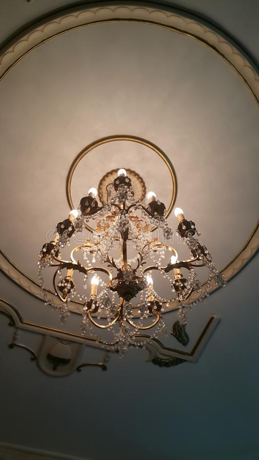 Crystal Chandeliers Bronze Candle Lamp royalty-vrije stock foto