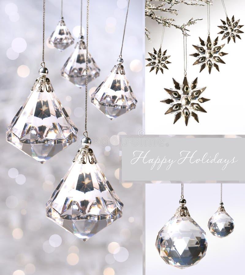 Crystal christmas ornaments against silver stock photos
