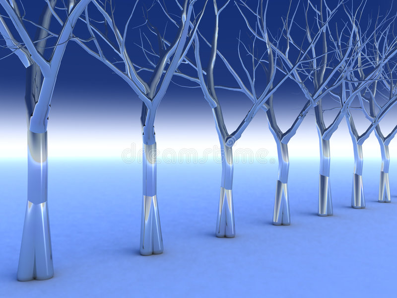 Crystal Chrome Trees. Surreal Chrome Trees in a cold blue Enviroment vector illustration
