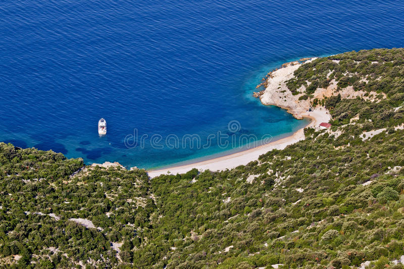 Crystal clean beach aerial view stock image