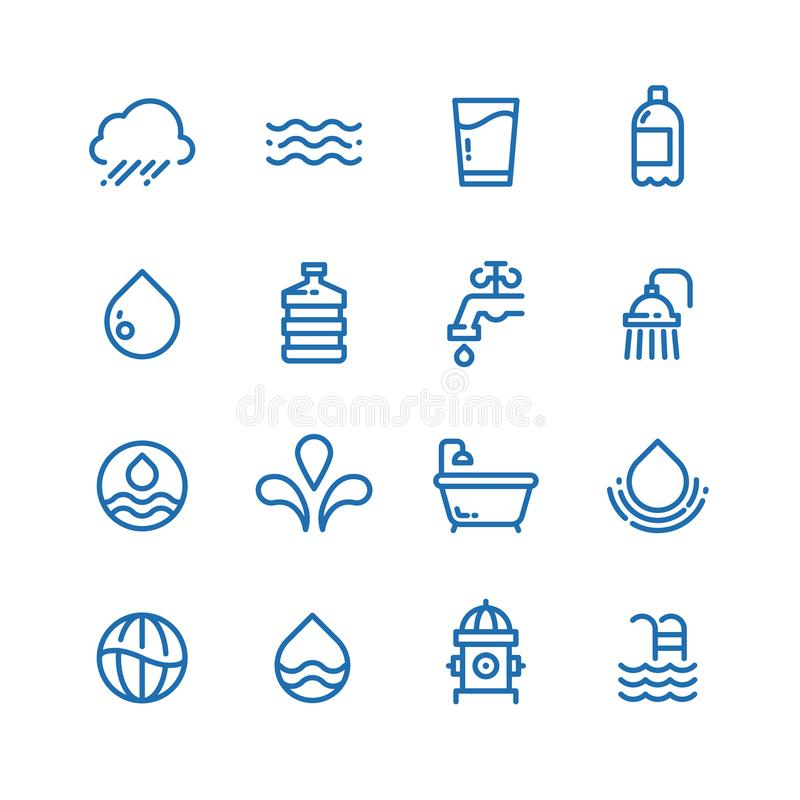 Crystal clean water drops, fresh drinks and hygiene line vector icons. Water drop and drink pure illustration vector illustration