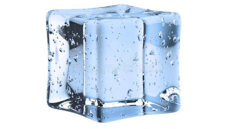 Crystal Clear Artificial Acrylic Ice cube la forme carrée sur un fond blanc illustration 3D illustration libre de droits