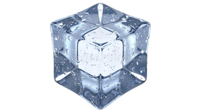 Crystal Clear Artificial Acrylic Ice Cubes Square Shape. 3d render on a white background. royalty free stock images