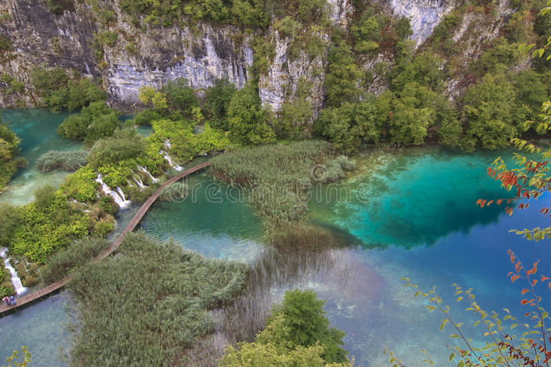 Crystal clear deep blue lake. Plitvice, Croatia royalty free stock images