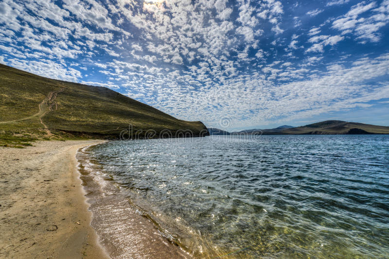 Crystal Clear Lake Baikal in Russia. During the Summer. View from Olkhon Island royalty free stock photos