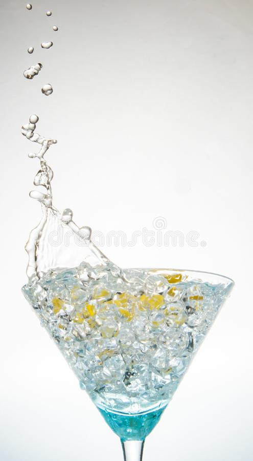 Crystal Clear Martini Splash fotografia de stock royalty free