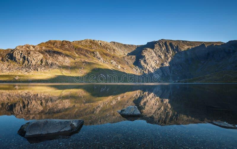 Crystal Clear Mountain Lake bij Zonsondergang royalty-vrije stock afbeeldingen