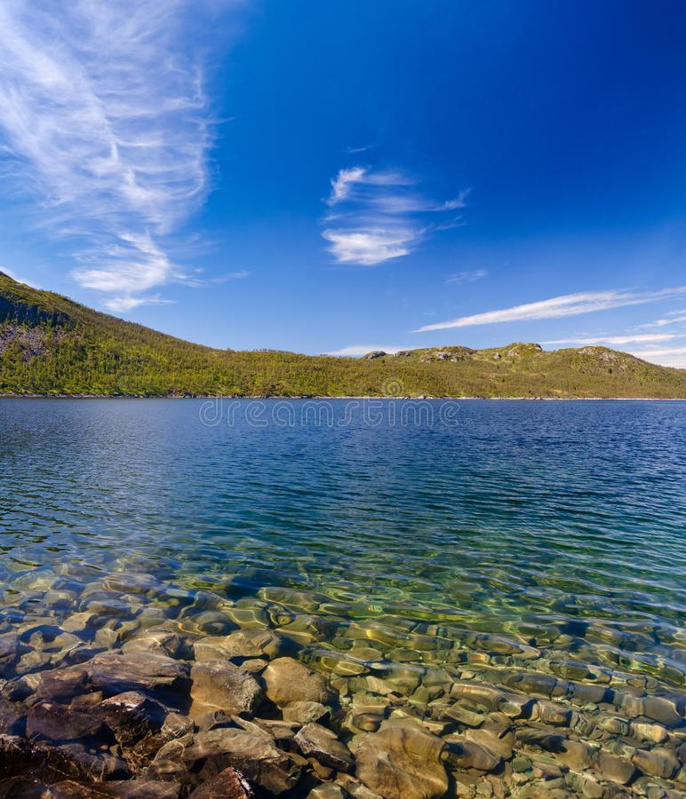 Crystal clear water of Lake Mosvatn Telemark Norway. Crystal clear water of Lake Mosvatn Mosvann in Telemark County, Norway stock photos