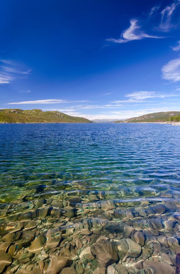 Crystal clear water of Lake Mosvatn Telemark Norway. Crystal clear water of Lake Mosvatn Mosvann in Telemark County, Norway royalty free stock image