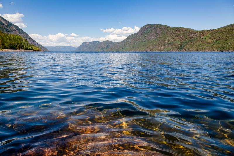Crystal clear water of Lake Tinn Telemark Norway. Crystal clear water of Lake Tinnsja Tinn, Tinnsjo or Tinnsjoen in Telemark County, Norway, one of the largest royalty free stock image