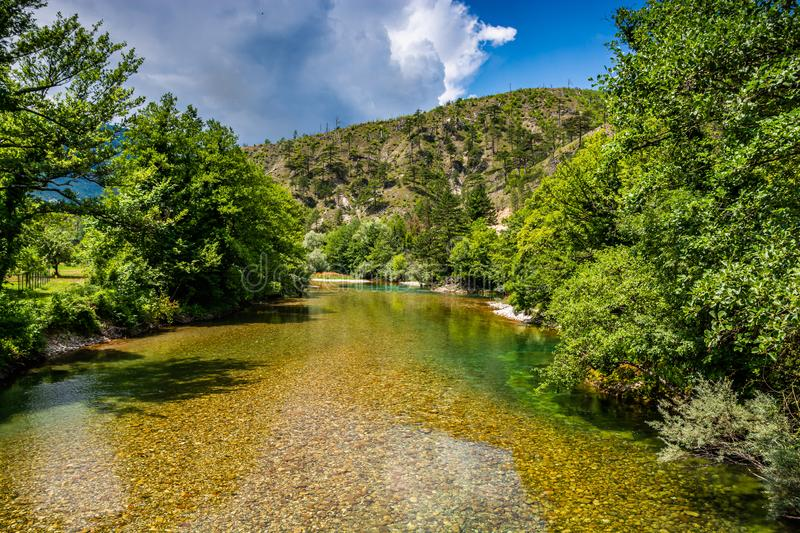 Crystal clear water in river Neretva, Bosnia and Herzegovina.  stock photography