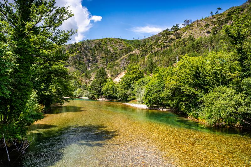 Crystal clear water in river Neretva, Bosnia and Herzegovina.  royalty free stock image