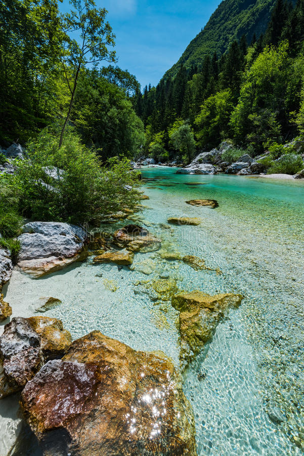 Crystal clear water in Soca river, SLovenia.  stock images