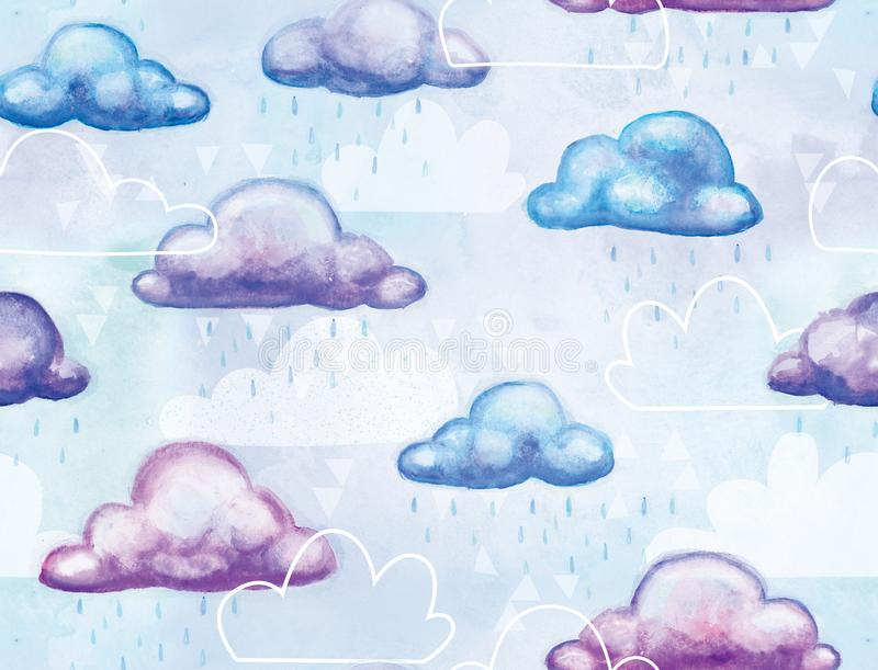 Crystal Clouds Watercolored Seamless Repeating-Patroon stock illustratie
