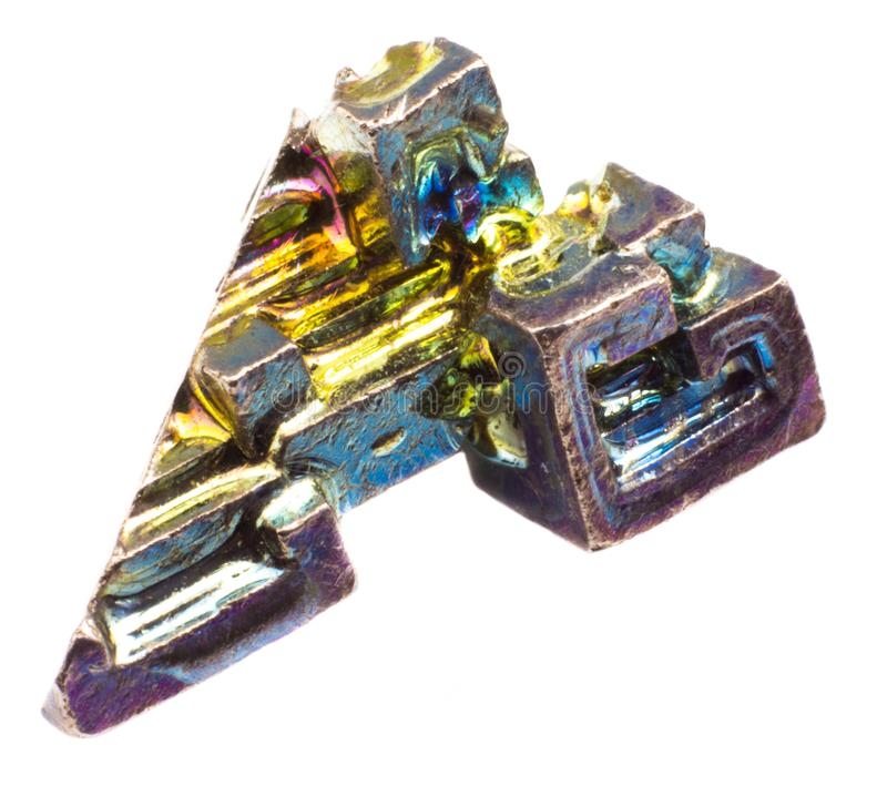 Crystal colorful artificially grown bismuth on white background isolated stock image