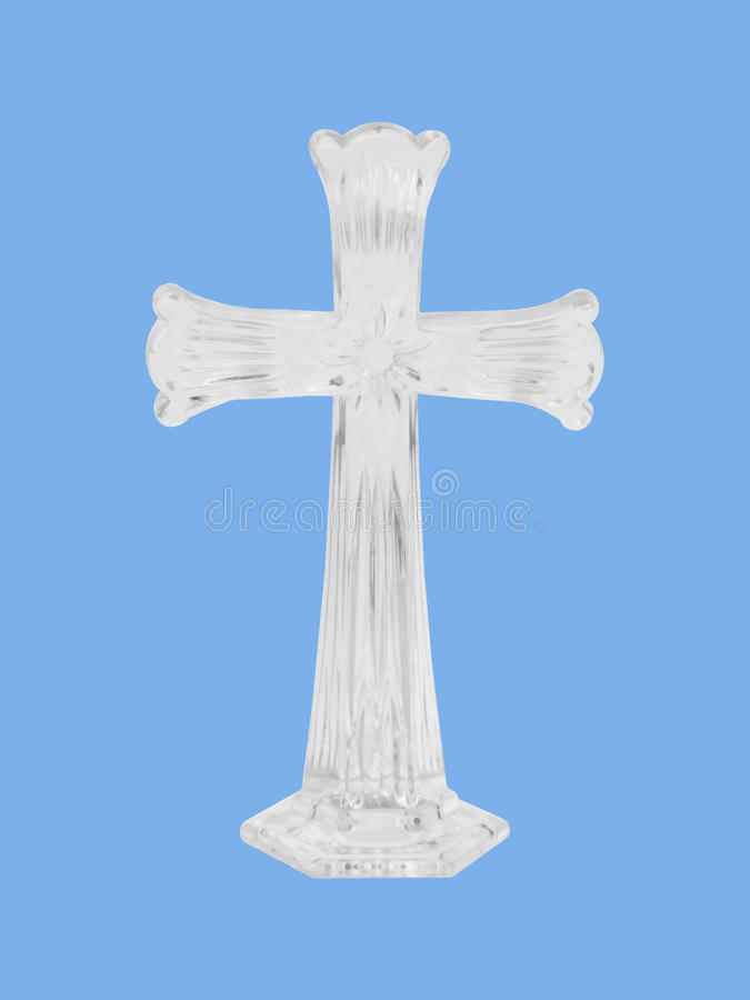 Crystal Cross Blue Background Christian Symbol Of Resurrection Stock