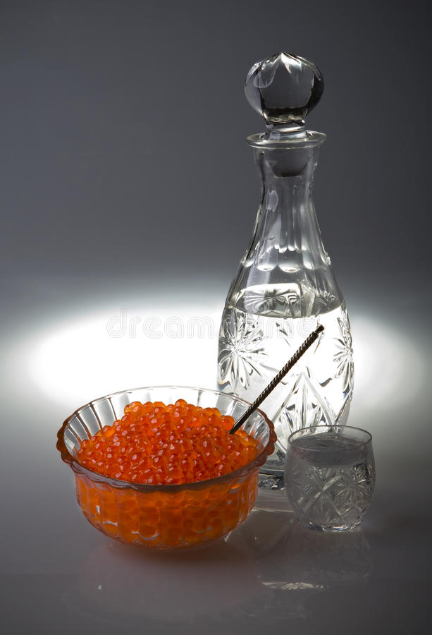 Download Crystal Decanter With Vodka And Capacity With Red Stock Photo - Image: 13380028