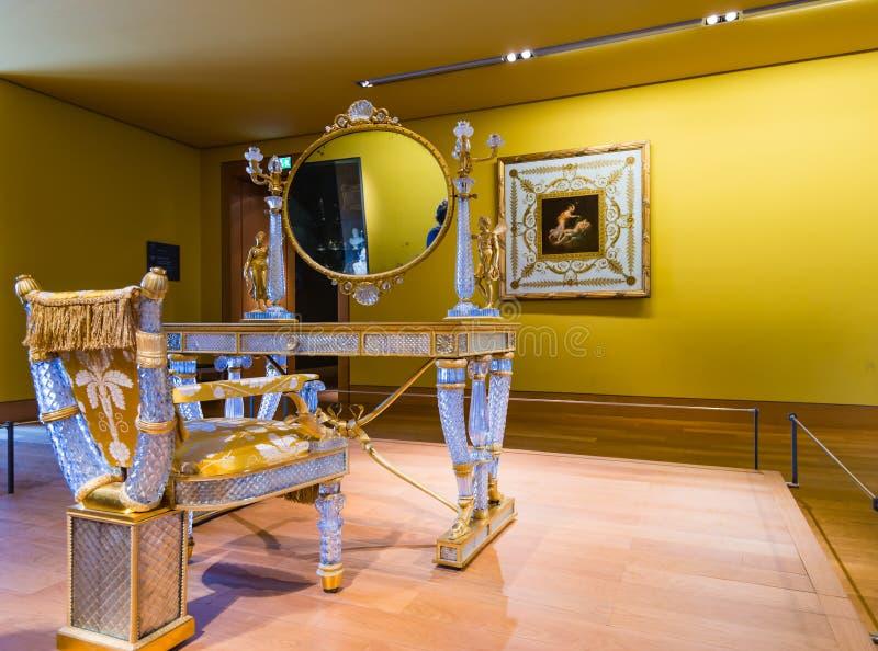 Crystal Dresser. In Napoleon III's Apartement, Louvre museum, Paris stock photos
