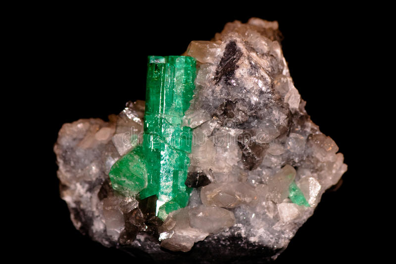 Crystal of emerald. Great big crystal of emerald stock image